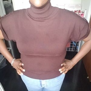 Brown turtleneck short sleeve sweater waist line